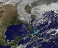 Satellite view of a Nor'easter storm over the United States.