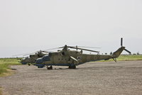 An Mi-35 attack helicopter at Kunduz Airfield, Afghanistan.