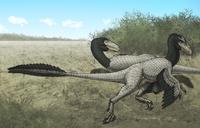 Two Dromaeosaurus dinosaurs sunbathing in the Cretaceous Period.
