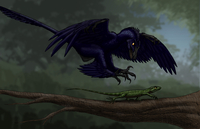 Microraptor hunting a small lizard on a tree branch.