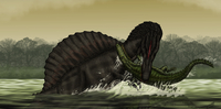 A Spinosaurus catches a young Stomatosuchus.