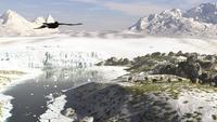 A receding glacial scene circa 18,000 years ago.