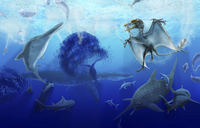 Early Jurassic European pelagic scene with various extinct animals.