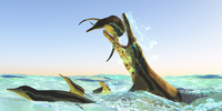 Kronosaurus, attacks a pod of Dolichorhynchops in Cretaceous seas.