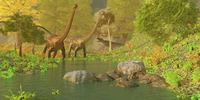 A Ceratosaurus tries to sneak up behind two Diplodocus dinosaurs. 11079027504| 写真素材・ストックフォト・画像・イラスト素材|アマナイメージズ