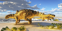 Euoplocephalus dinosaurs munch on melons on an ocean beach.