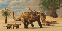 A Sauropelta mother leads her offspring in a desert area of North America.