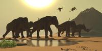 Jabiru birds fly past a herd of Columbian Mammoths.
