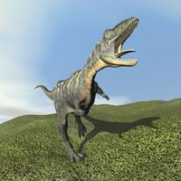 Aucasaurus dinosaur bellows a loud roar.