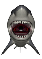 Megalodon dinosaur with mouth open.