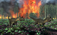 Cryolophosaurus dinosaurs fleeing from a deadly forest fire.