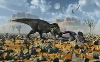 Tyrannosaurus Rex feeding on a Triceratops carcass.