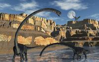 Omeisaurus dinosaurs being stalked by a carnivorous predator. 11079027651| 写真素材・ストックフォト・画像・イラスト素材|アマナイメージズ