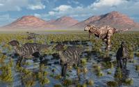 Tyrannosaurus Rex chasing a herd of Parasaurolophus dinosaurs.