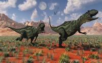 A pair of Yangchuanosaurus dinosaurs hunting.