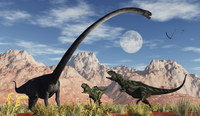 A pair of Yangchuanosaurus dinosaurs confront an Omeisaurus.