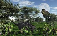 A Tyrannosaurus rex stalking a herbivorous Ankylosaurus.
