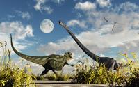 A Yangchuanosaurus dinosaur confronting an Omeisaurus. 11079027662| 写真素材・ストックフォト・画像・イラスト素材|アマナイメージズ