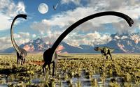 A Yangchuanosaurus dinosaur stalking an Omeisaurus. 11079027663| 写真素材・ストックフォト・画像・イラスト素材|アマナイメージズ