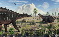 A pair of stegosaurid Miragaia dinosaurs.