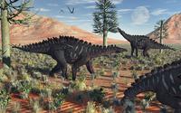 A small group of stegosaurid Miragaia dinosaurs.