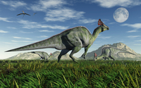 Olorotitan duckbill dinosaurs grazing.