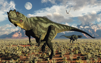 A pair of carnivorous Yangchuanosaurus dinosaurs. 11079027670| 写真素材・ストックフォト・画像・イラスト素材|アマナイメージズ