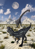 A carnivorous Allosaurus confronting a giant Diplodocus.