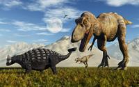 Tyrannosaurus Rex dinosaurs confronting a lone Ankylosaurus.