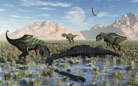 A pack of carnivorous Yangchuanosarurs make a meal of a dead Omeisaurus.
