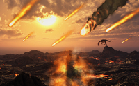 A falling asteroid and meteorites mark the end of the dinsoaurs rule of the Earth.