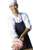 Butcher with chops, smiling, portrait, cut out