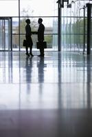 Businessman and businesswoman shaking hands in office corridor 11080008026| 写真素材・ストックフォト・画像・イラスト素材|アマナイメージズ
