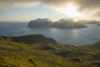 Scenic view of Faroe Islands on sunny day