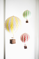 Hot air balloon decorations hanging at home