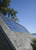 Close up of solar panels in roof