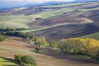 Aerial view of fields in rural landscape 11086003248| 写真素材・ストックフォト・画像・イラスト素材|アマナイメージズ