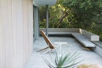 Chair and table on modern patio