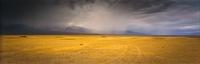Clouds forming over desert landscape