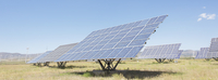 Solar panels in rural landscape
