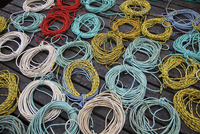 Coils of fishing rope on dock