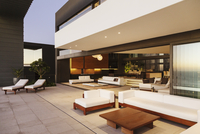 Sofas and lounge chairs on modern patio