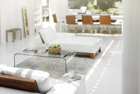 Sofas, coffee table and rug in modern living room