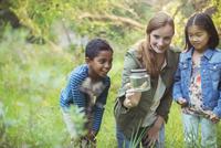 Student and teacher examining insect in jar 11086017900| 写真素材・ストックフォト・画像・イラスト素材|アマナイメージズ
