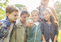 Student and teacher examining insects in jar outdoors 11086017904| 写真素材・ストックフォト・画像・イラスト素材|アマナイメージズ