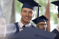 Portrait of smiling student during graduation ceremony