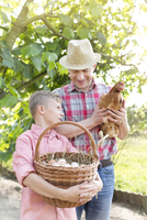 Father and son with chicken and basket of fresh eggs