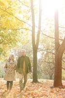 Senior couple walking in sunny autumn park