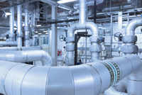 Network of pipes in factory