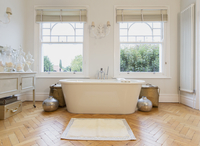 Home showcase interior bathtub and parquet floor